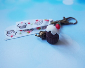 Cupcake Keychain Cupcake Charm ( zipper pull charm food charm miniature food gift for her bronze charm strawberry charm )