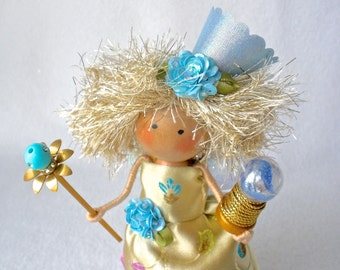 Fairy Godmother Art Doll, Clothespin Doll, Fairy Peg Doll,  Crystal Ball Fairy, Gold and Turquoise,  Pegtales Crystal Ball