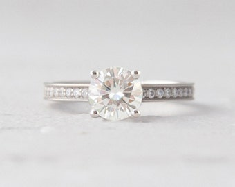 Round Forever One Moissanite Accented Conflict Free Diamond Engagement Wedding Ring LCDA006
