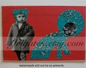 Collage on Book Cover, Colorful Surreal Paper Collage, One of a Kind Vintage Red and Teal Paper Art