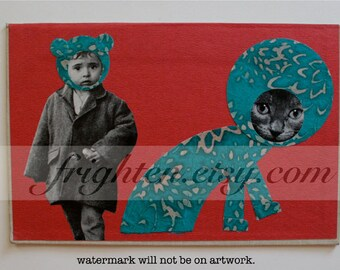 Book Cover Art, Paper Collage, Mixed Media, Original Art, One of a Kind, Boy and Cat, Weird Cat Art