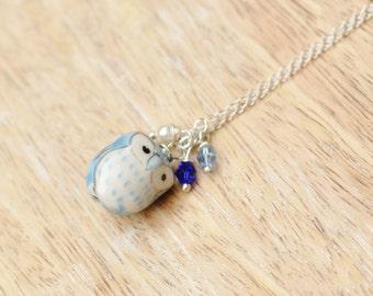 Athena Porcelain Owl Pendant Necklace