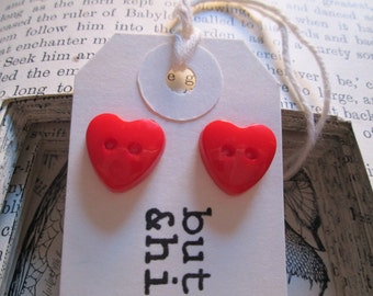 Heart earrings, red buttons, give your ears a little LOVE, heart, button, studs, kitcsh, red, valentine gift, love hearts, d'amour