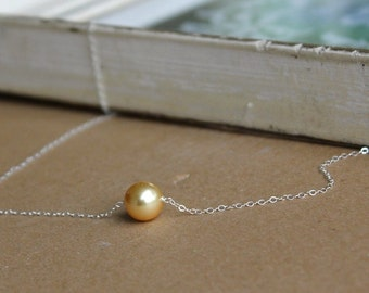Gold Pearl Necklace - Bridal Necklace - Bridal Jewelry - Wedding Jewelry - Sterling Silver Necklace - Bridesmaids Necklace