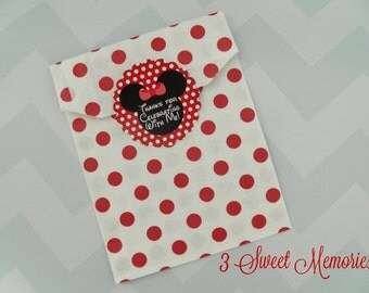 Minnie Mouse Favor Tags/Stickers in Pink or Red