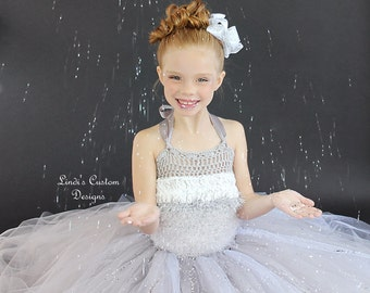 Silvery Grey and White Flower Girl Tulle Tutu Ensemble for Weddings, Bridal, Pageants, Holidays