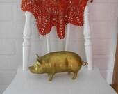 Heavy Vintage Brass Pig Piggy Figurine