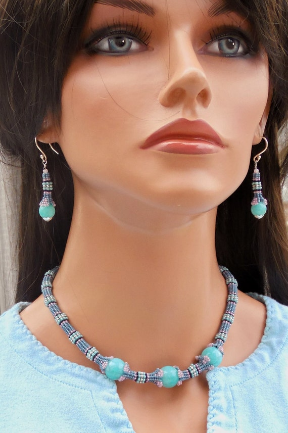 Amazonite Choker and Earring Set - OOAK Necklace Set - Beaded Chunky Collar Necklace - Blue Seed Bead - Seed Bead Jewelry