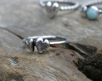 Double Rustic Heart Stacking Ring in Fine and Sterling Silver Wire. Made To Order In Your Size. Weathered Heart Collection.