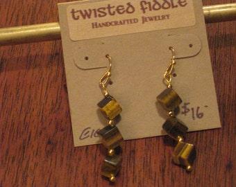 Tiger Eye Cubes Earrings  (E1020)