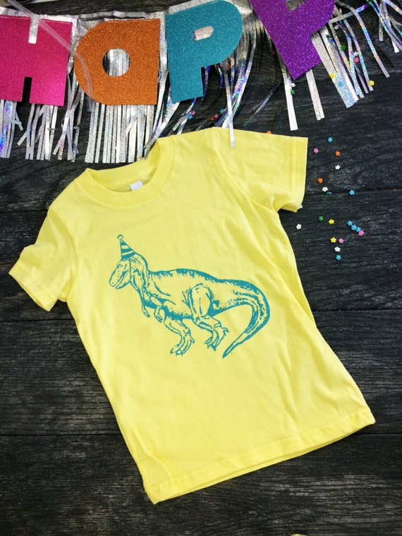 Toddler Kids Tee - Screen Printed Party Hat Dinosaur - Yellow with Bright Blue - Birthday Gift Idea