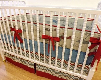 Airplane Crib Bedding- Boy Baby Bedding- MADE TO ORDER- 3 Piece Baby Bedding- Vintage Air Baby Bedding