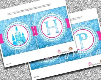 Frozen Ice Princess  Printable Party Birthday DIY Banner