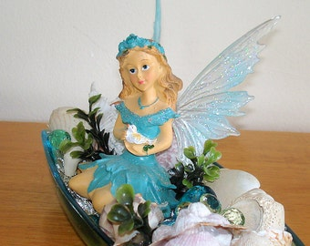 Seashell Fairy Garden Handcrafted Faerie Garden by the Sea Home Decor Blue Water Long Winged Dolls and Miniatures.Fantasy