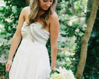 Blush Pink Wedding Dress with Grey Details
