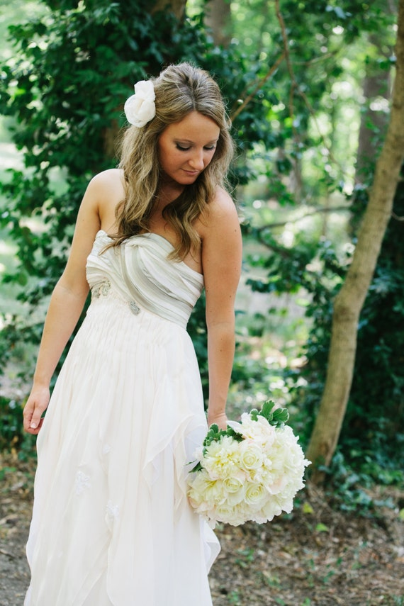 Light Pink Wedding Dress, Silk Chiffon, Custom Made to Order in your size - Kristen Style