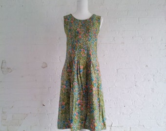 1960s Green Blue Watercolor Floral Fit and Flare Dress 60s Vintage Mod Cotton Sundress Full Skirt Medium Summer Garden Party Dress
