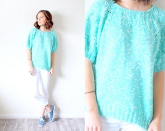 Vintage Boho // light blue teal short sleeve sweater // small sweater // summer sweater // modest top // short sleeve top // knit sweater