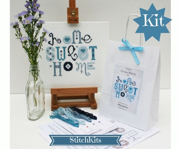 Home Sweet Home( Blue and Turquoise) Cross Stitch Kit