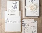 "Rustic Ivory Wedding Invitations, Elegant Boxed Wedding Invitations, Ivory, Taupe, Gray ""All White Box Invite"" Sample - NEW LOWER PRICE!"