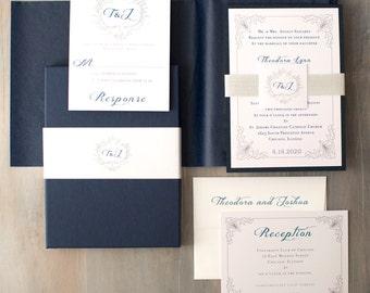 "Navy Wedding Invitations with Monogram, Modern Wedding Invites  - ""Classic Love White Metallic Box Invite"" Sample - NEW LOWER PRICE!"
