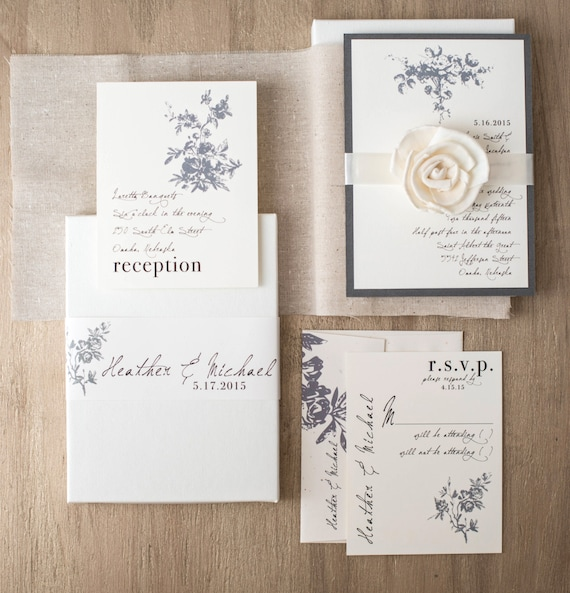 Rustic Ivory Wedding Invitations Elegant Boxed Wedding