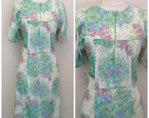 NWT Vintage 1970s Dress Boho House Dress Maxi Robe Coachella Dicarlo of CA 70s Bust 38 Size Medium Large M L