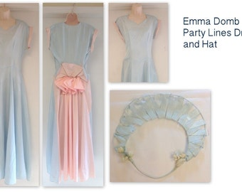 Vintage 50s EMMA DOMB Dress with Hat 1950s Bust 36 Pink Blue Party Dress