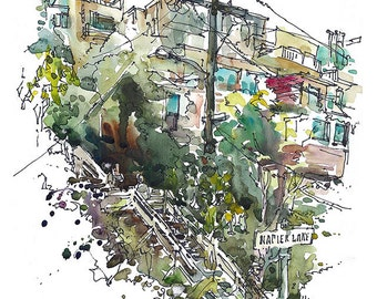 San Francisco California Filbert Steps and Coit Tower, fine art print from a sketch