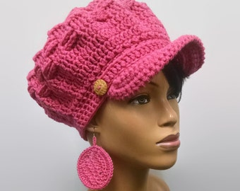 MADE TO ORDER Raspberry Pink Newsboy Hat/Beret/Beanie with brim/strap/wooden button and free matching crochet earrings