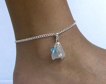 Sterling silver anklet. Sea Glass anklet. Mermaid anklet Sea glass jewelry. Beach glass anklet
