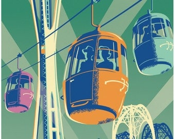 Vintage Style Seattle Travel Poster - Space Needle