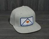 Ski Trucker Hat - First Chair Logo Hat - 6 Panel Wool Snapback Heather Grey Trucker Hat - Unisex