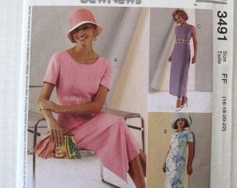 2000s Maxi Dress Pattern, McCalls 3491, Womens Raised Waist Sleeveless Short Sleeve Sheath Dress Pattern, Size 16-22, Bust 38-44, UNCUT FF