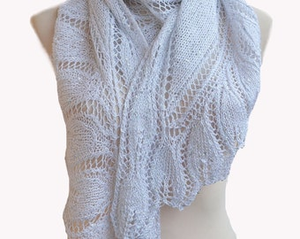 White and silver knitted shawl scraf  stole very delicate beidal wedding winter accessories lace shawl romantic feminine