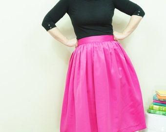 Pink Midi Skirt Custom made Full gathered Duchess Satin skirt also in plus size custom made