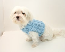 DIGITAL PATTERN:Knit Dog Clothes Pattern,Knit Dog Sweater Pattern,Small Dog Sweater,Cabled Dog Sweater,Easy Dog Sweater,Puppy Clothes,Blue