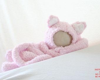 PDF DIGITAL PATTERN:Kitty Costume Pattern,Baby Cat Costume,Newborn Costume Photography Prop,Kitty Cat Costume,Knit Baby Costume,Cat Hat