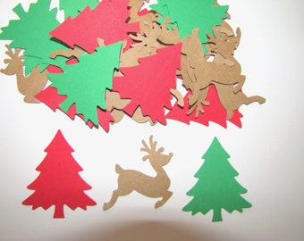 24 Hand Punched Cardstock Red and Green Christmas Trees and Kraft Reindeer