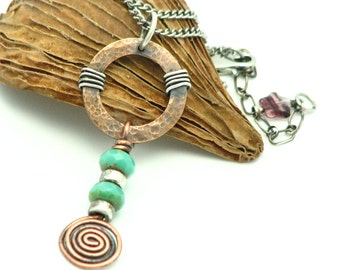 Copper Jewelry Handmade Mixed Metal Wire Wrapped Jewelry Copper Spiral Necklace