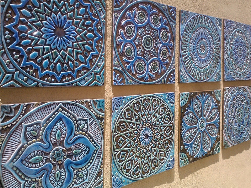 Garden decor outdoor wall art made from ceramic set of 8 for Outside wall art