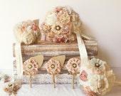 wedding bouquet set, bridal bouquet, bridesmaids bouquets, blush bouquet, men boutonnieres