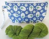 Zipper Wristlet Bag: Blue Lucky Lucille™ Terrarium Print Zip Bag