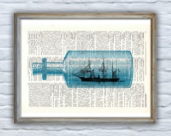The Ship in the Bottle original collage art, Seashore house decor, Ocean Wall Art, Bathroom wall decor Ship SEA107