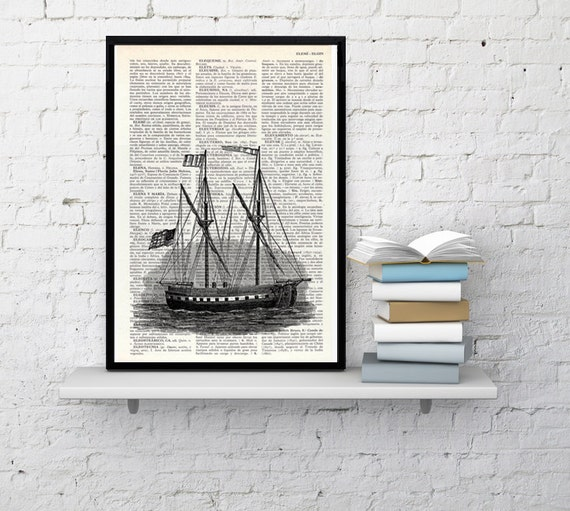 Antique ship printed on  Dictionary Page, Sea life art,  Wall decor Ship art, Sea shore house decor, wall hanging art, Giclee print BPSL010