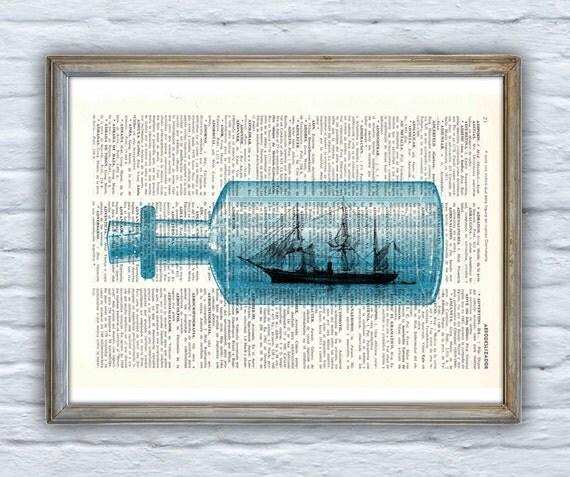Summer Sale The Ship in the Bottle original collage art, Seashore house decor, Ocean Wall Art, Bathroom wall decor Ship SEA107