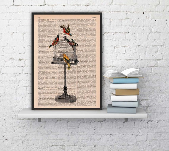 Spring Sale Vintage Cage free birds printed on Vintage Book page -altered art printed on  dictionary page BPAN187