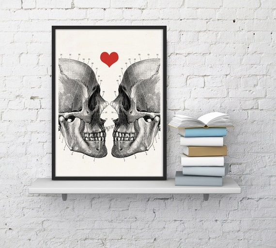 Skulls love print -Death means nothing to us - Love  Print - Anatomy Art -skull poster gifts fater gifts for him SKA001WA4