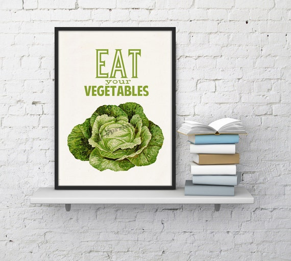 Purple Vegetable Wall Art: Kitchen Wall Art Eat Your Vegetables Print Art Giclee Print