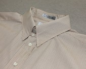 vintage 1980's -Aquascutum- Men's tab collar dress shirt. Alternating color pinstripe - All cotton. Large 16 1/2 x 35